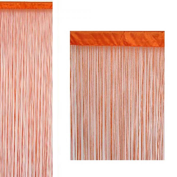Cortina de hilos color naranja (90x200)