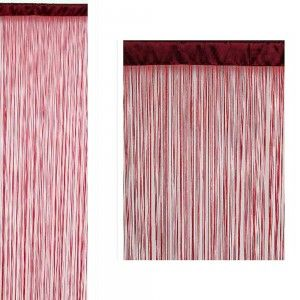 Cortina de hilos color rojo (90x200)