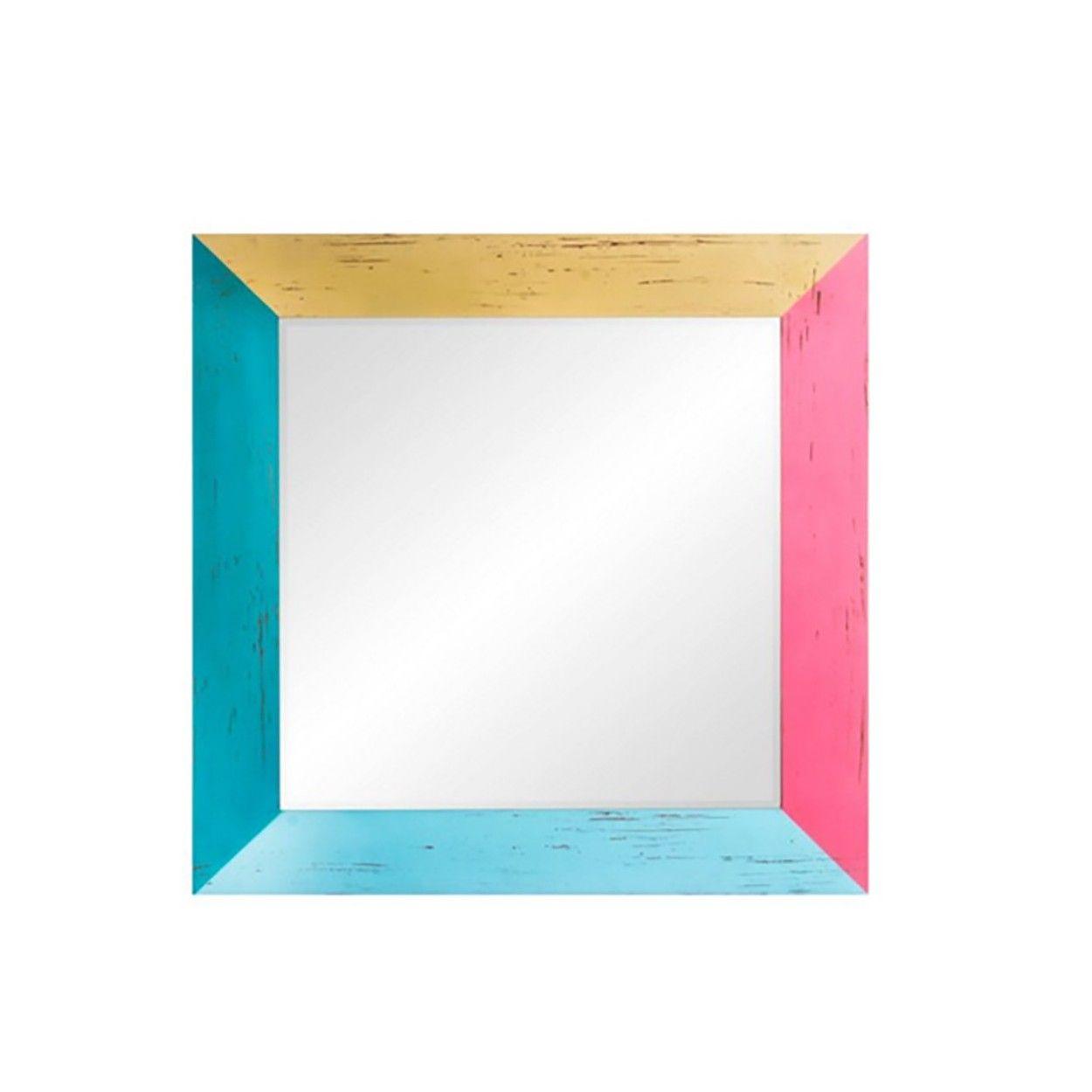 Espejo pared de madera colores 70x70 cm hogar y m s for Espejo pared madera