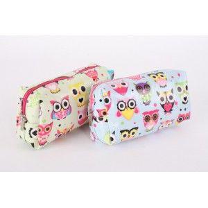 Bag with zipper PVC - Model owls (16x5x8 cm)