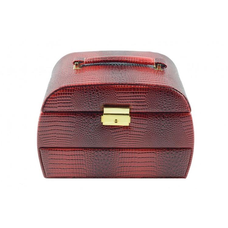 Joyero con cajones en color rojo (24x16x18 cm)
