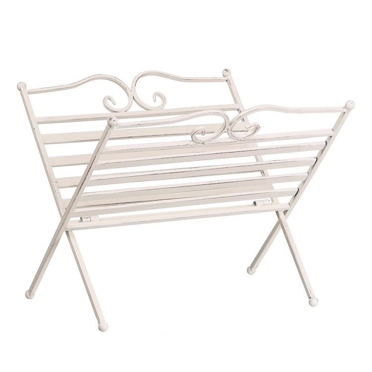 Revistero de metal en color blanco (38x34x30 cm)