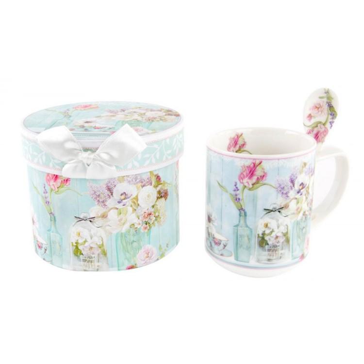 Taza De Porcelana Con Cuchara Y Caja De Regalo Con