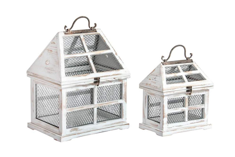 Faroles portavelas de madera - Modelo casa