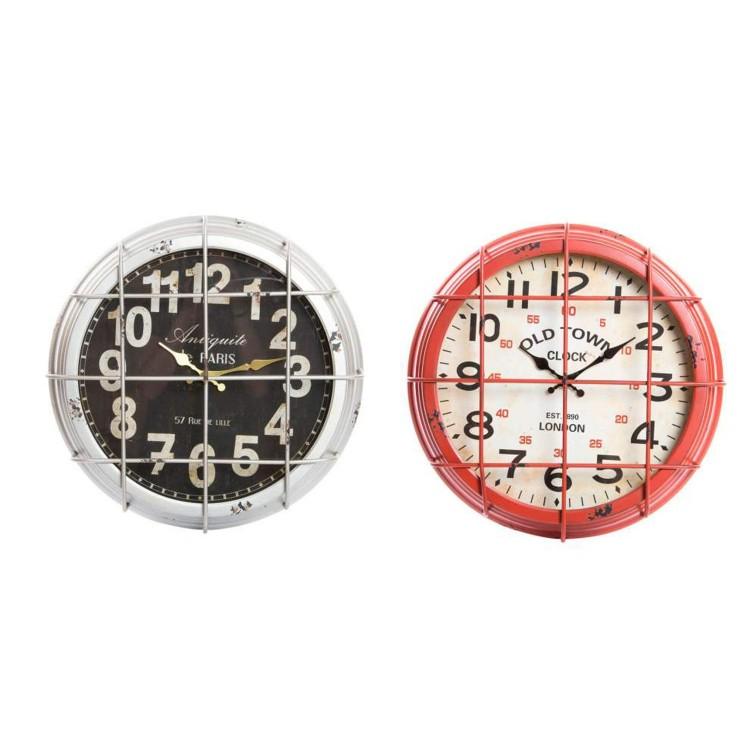 Reloj de pared de madera y metal (46x10 cm)