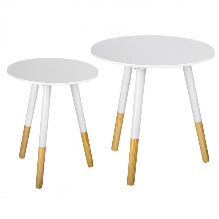 Mesas redondas - Lacadas en color blanco Set de 2 uds.