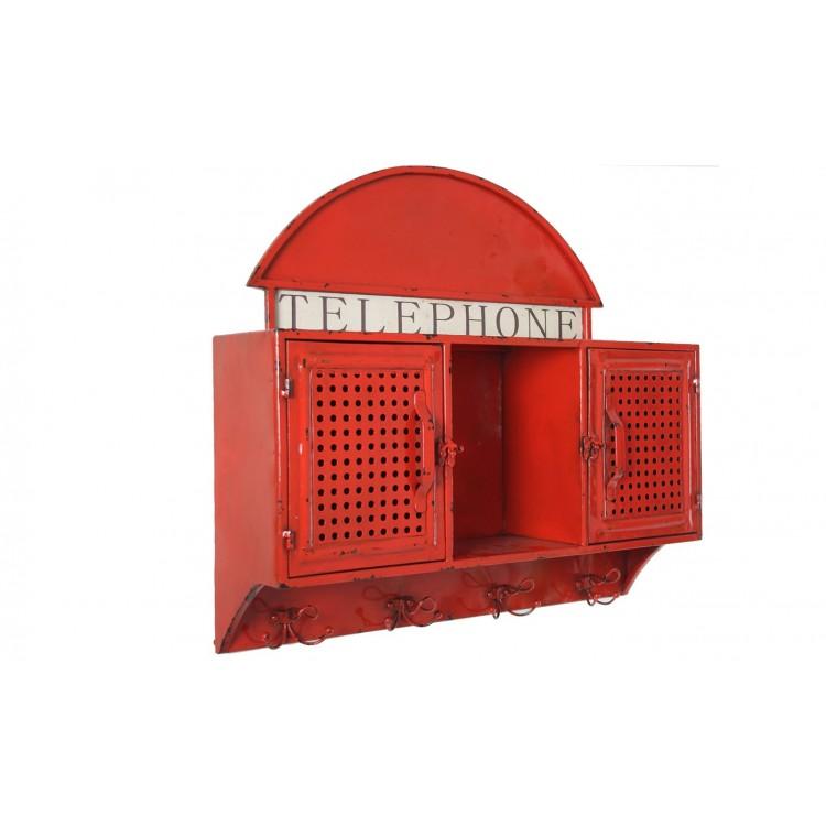 Perchero de pared Vitange en Metálico color Rojo para Pared con dos puertas TU y YO con hueco central vacía bolsillos