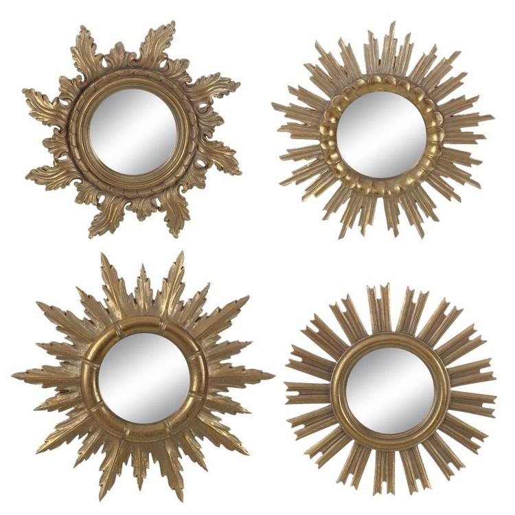 """Espejo de resina original color oro con forma de sol Set de cuatro diferentes """"Golden Sun"""""""