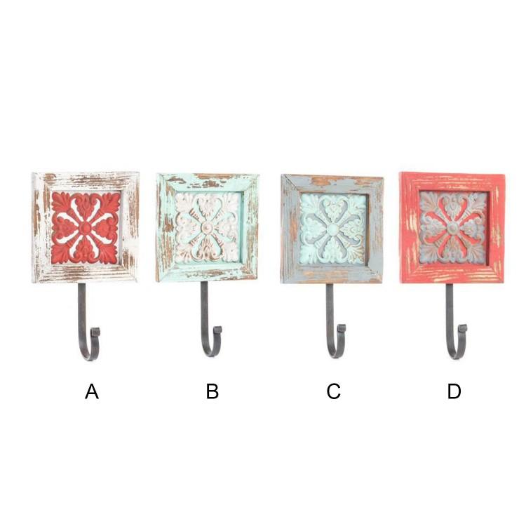 Percheros de Pared Madera-Metal (15x6x21 cm) color Envejecido 4 modelos