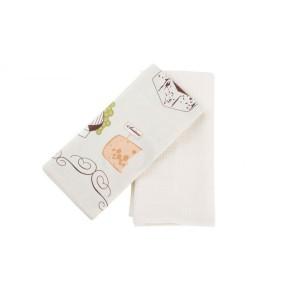 Set de 2 Trapos de cocina blanco (40x60 cm) 100% Algodón modelo Queso
