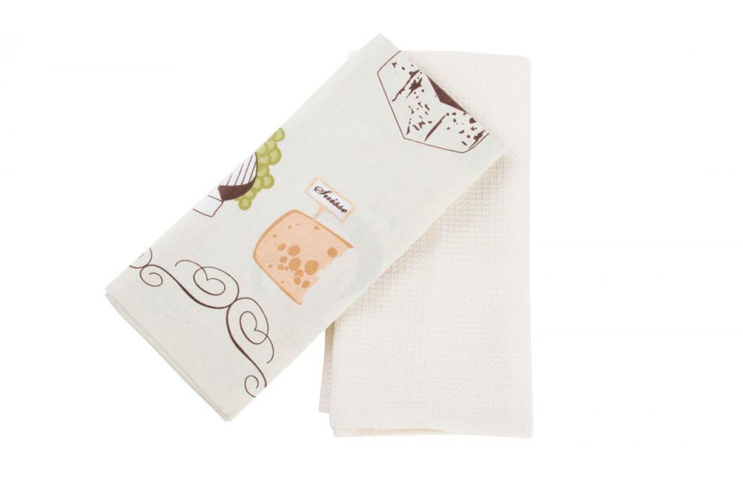 Set of 2 dish Cloths white (40x60 cm) 100% Cotton model Cheese