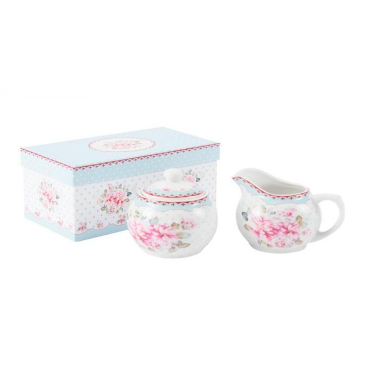"""Azucarero y lechera de porcelana elegante con diseño floral """"Sky &  Flowers"""" con Caja"""