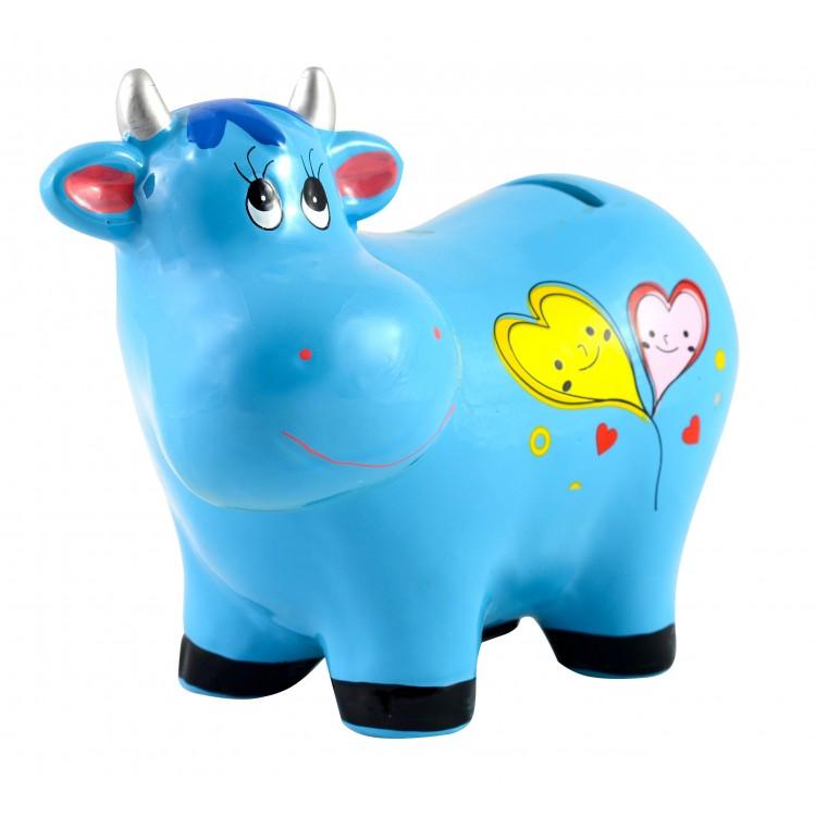 Hucha Infantil de Cerámica modelo Vaca (17x13.5x7.5 cm) con tapón