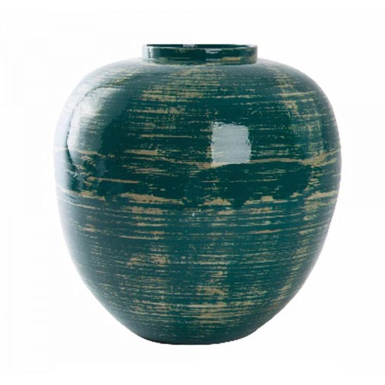 Jarrón de Bambú (30x30 cm) Azul envejecido