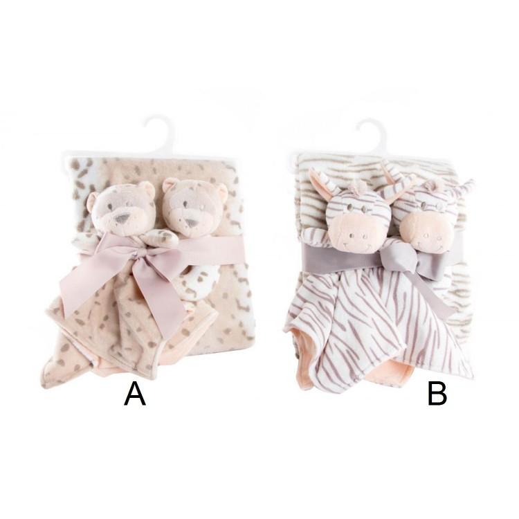 Manta para bebé con peluches - Modelo salvaje (100x75 cm). Set 3 mantas