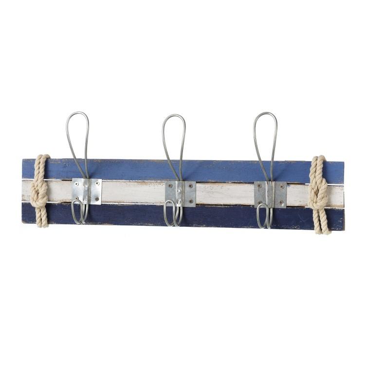 Perchero de pared Barlovento, en madera de pino - Color azul