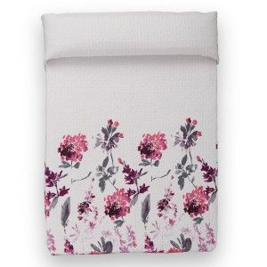 Quilt bouti - floral Pattern white and pink (260x240 cm)