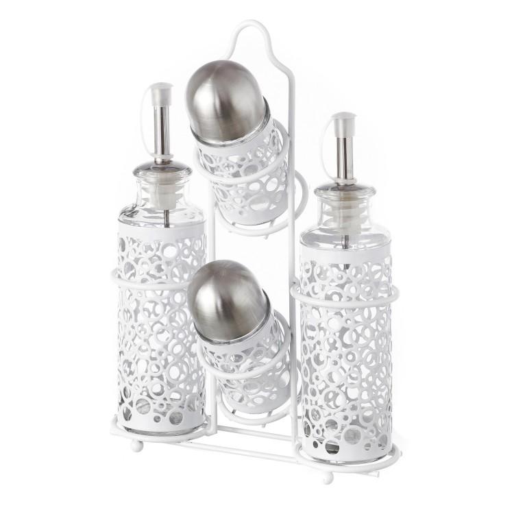 """Aceitera vinagrera con soporte original de acero inoxidable y cristal """"Dream"""""""