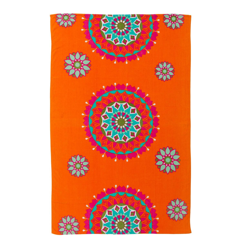 Beach towel - orange- Model ethnic (100x150 cm)
