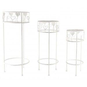 Set de 3 mesas de Metal (30x70 cm) Blanca Corazones