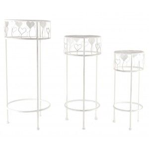 Set of 3 Metal tables (30x70 cm) White Hearts