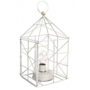 Lámpara con Led de Metal (14x14x26 cm) Blanca Escandinava