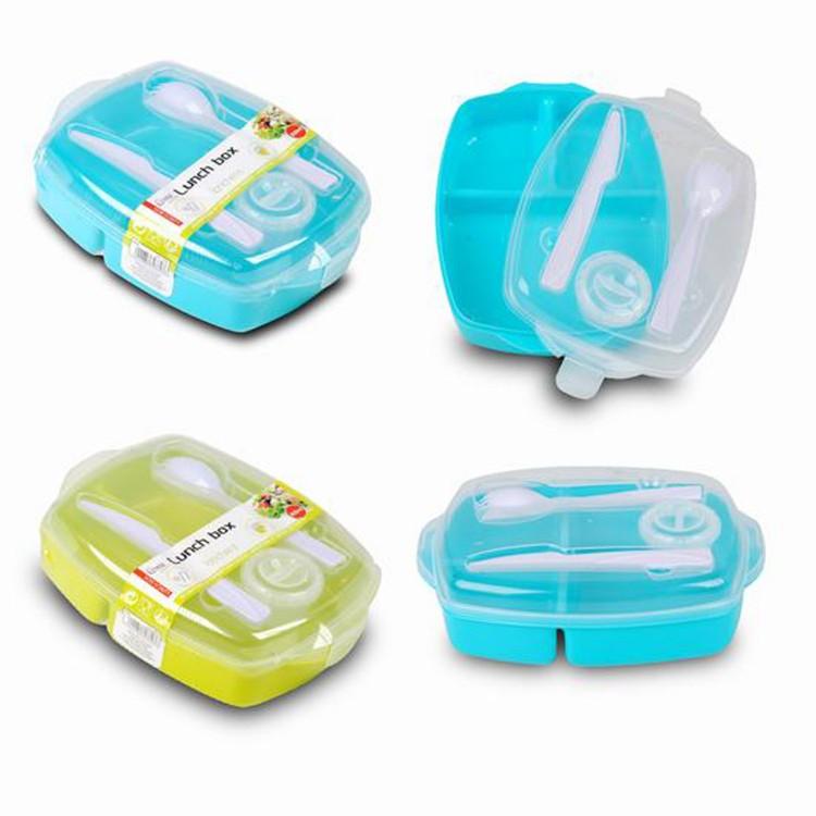 Táper Fiambrera porta alimentos con compartimentos 800 ml,  recipiente para Aliño de la ensalada y Cubiertos 2 colores