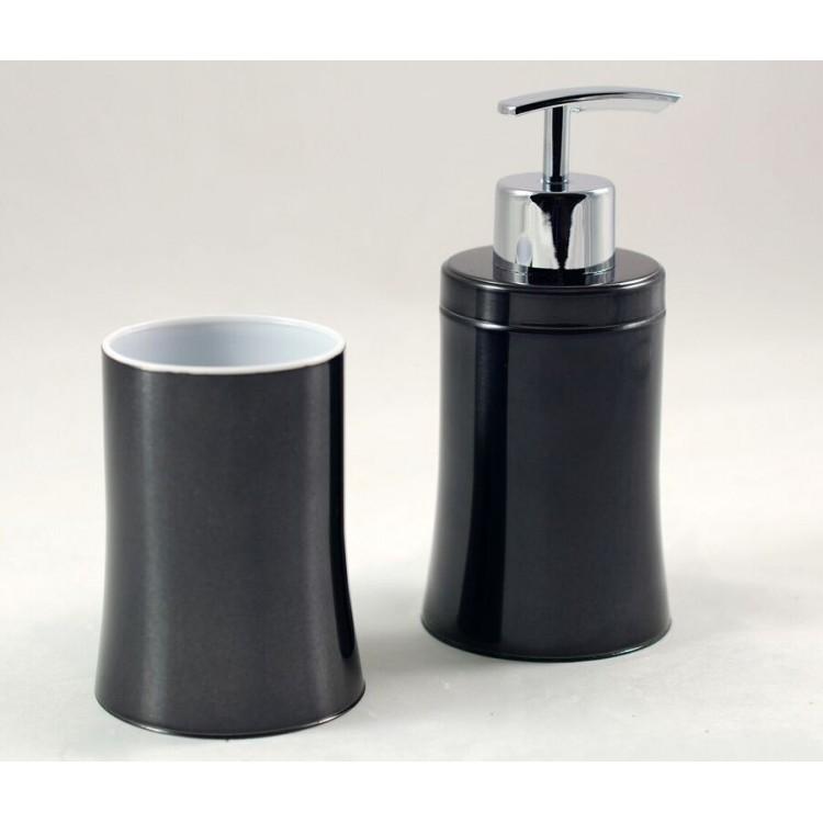 Accesorios de ba o vaso y dosificador en color negro for Set de bano acero inoxidable