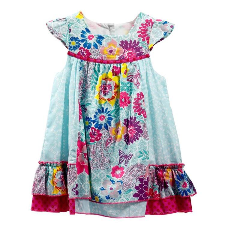 Vestido de Flores para niña 100% Algodón (Tallas 12,18,24,36 meses