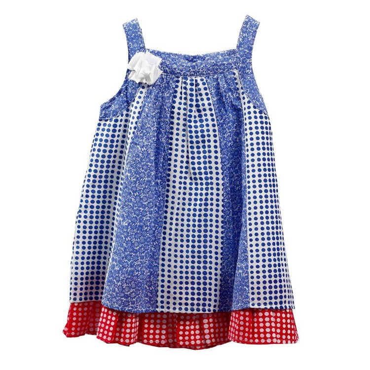 Vestido de Niña 100% Algodón con flor (tallas12,18,24,36 meses) estampado círculos