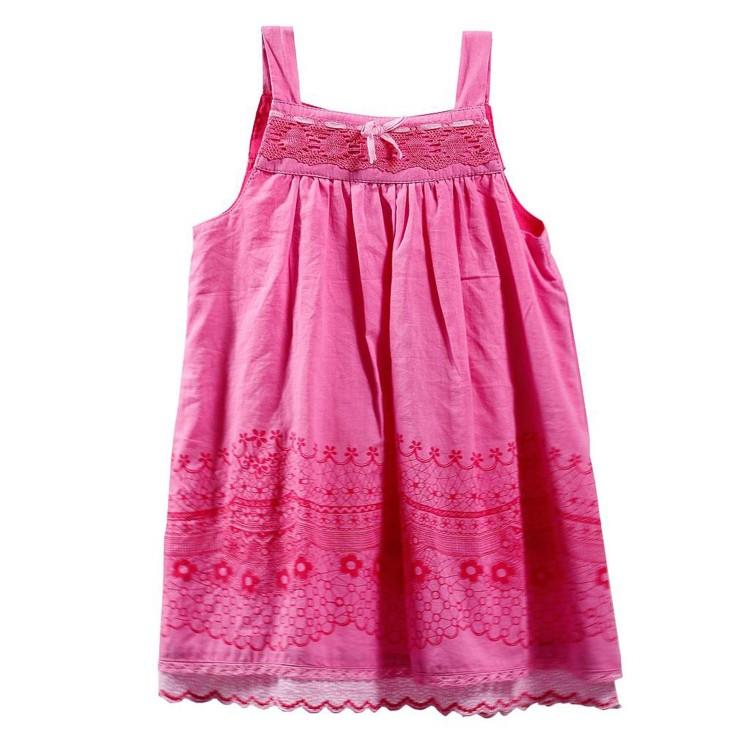 Vestido de niña Rosa de 100% Algodón lacito (Tallas 12,18,24,36 meses)