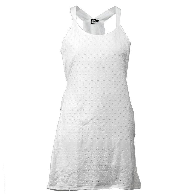 Vestido Espalda Cruzada Blanco de 100% Algodón (Tallas S,M,L,XL)