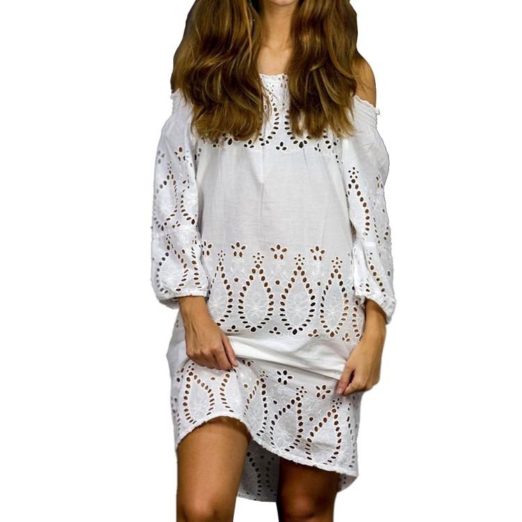 Vestido con cuello de Barca 100 % algodón (Tallas S,M,L y XL)