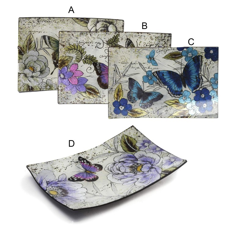 Platos Decorativos Rectangulares de Cristal (41.5x25 cm) Mariposas 4 modelos