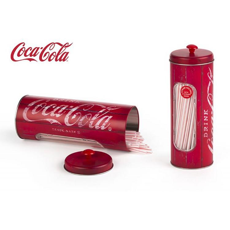 Bote metálico redondo con 50 pajitas - Coca-Cola (8.5x5.5x23.5 cm)
