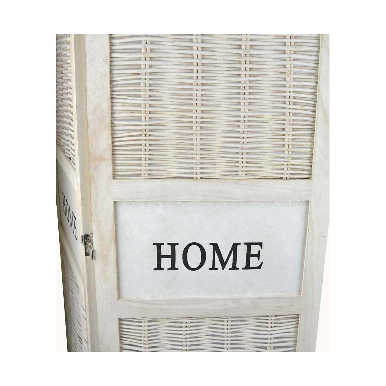Biombo blanco de madera natural y mimbre terminaci n en decape blanco 170x135x2 cm hogar y m s - Biombos de mimbre ...