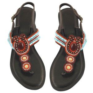Sandal brown leather with beads