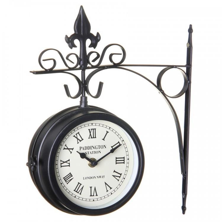 Reloj de Estación tradicional color Negro Metal (27.50x8.50x30cm)