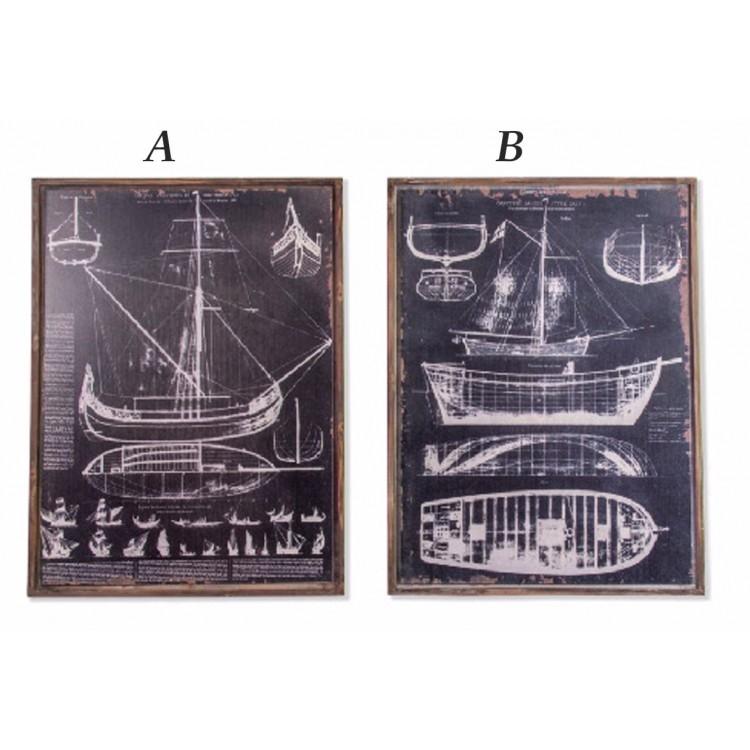 Cuadro vintage de madera y cristal de planos de barcos (60x80x9) Hogar y mas