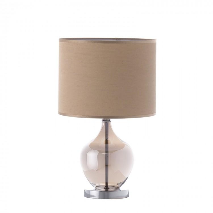 Lámpara de mesa de metal y cristal, color champan (26x26x42)