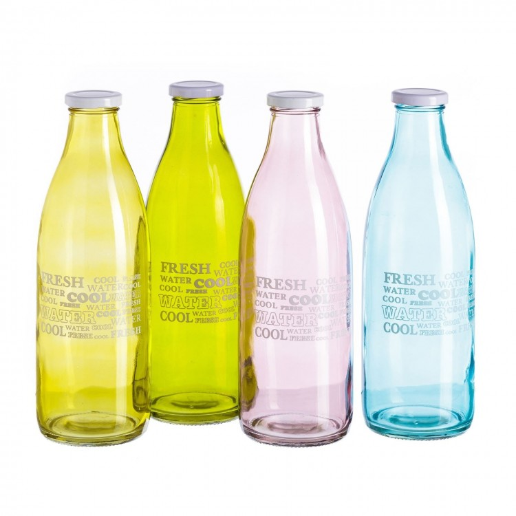 Botella de cristal con tapa de rosca de Hogar y Mas