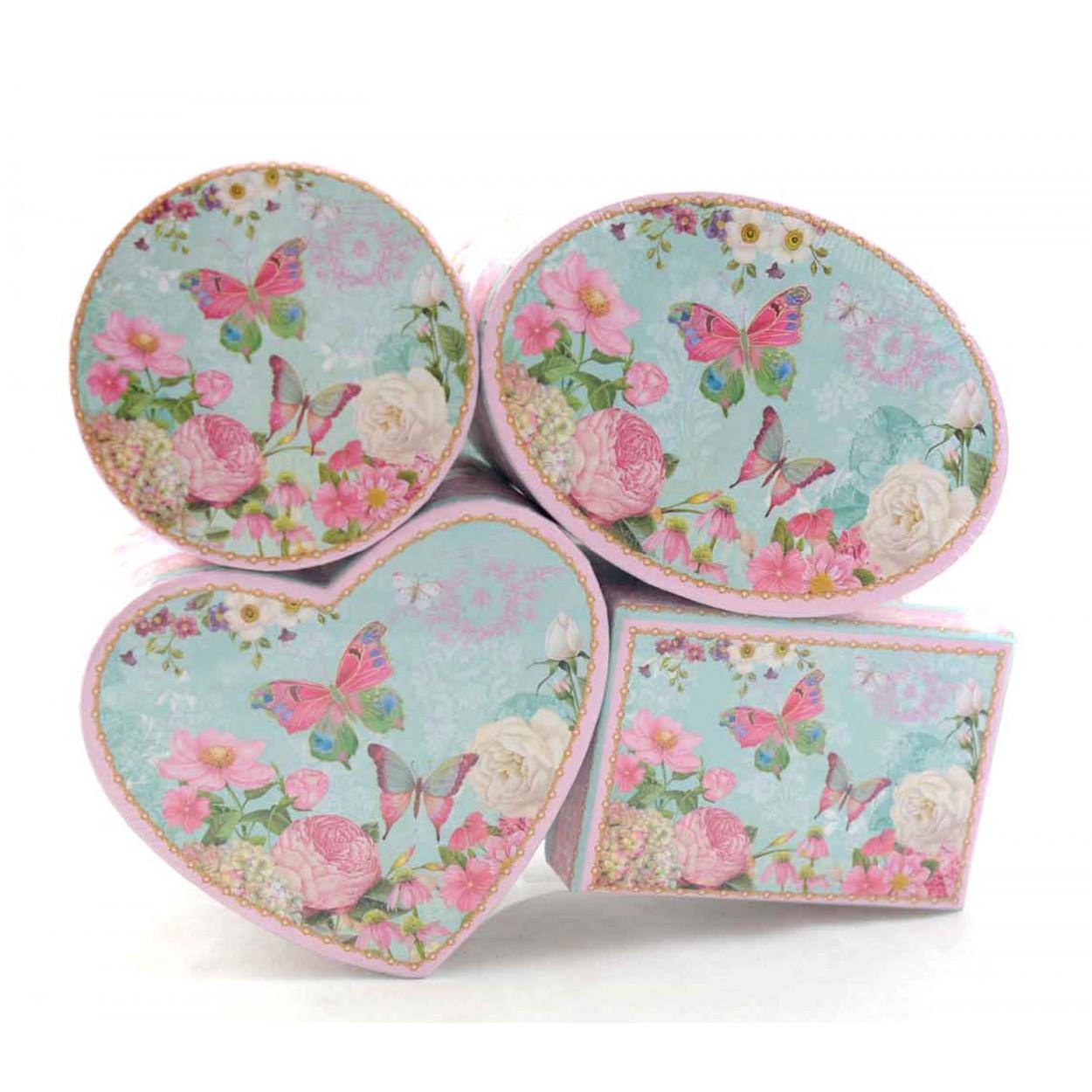 Cajas para almacenaje mariposas y flores set de cuatro 23x18x6 5 hogar y m s - Cajas almacenaje decorativas ...