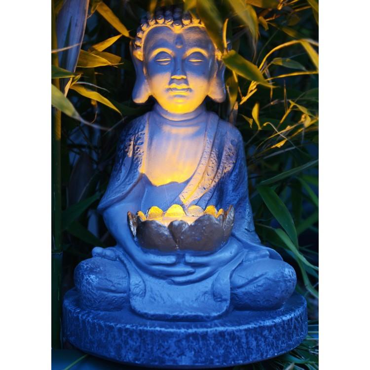 Figura de Buda Zen Wabi-Sabi con lámpara Solar (24.8 cm)