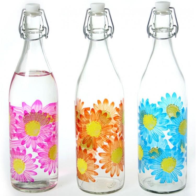 Botella de Cristal 1L. Flores 3 colores