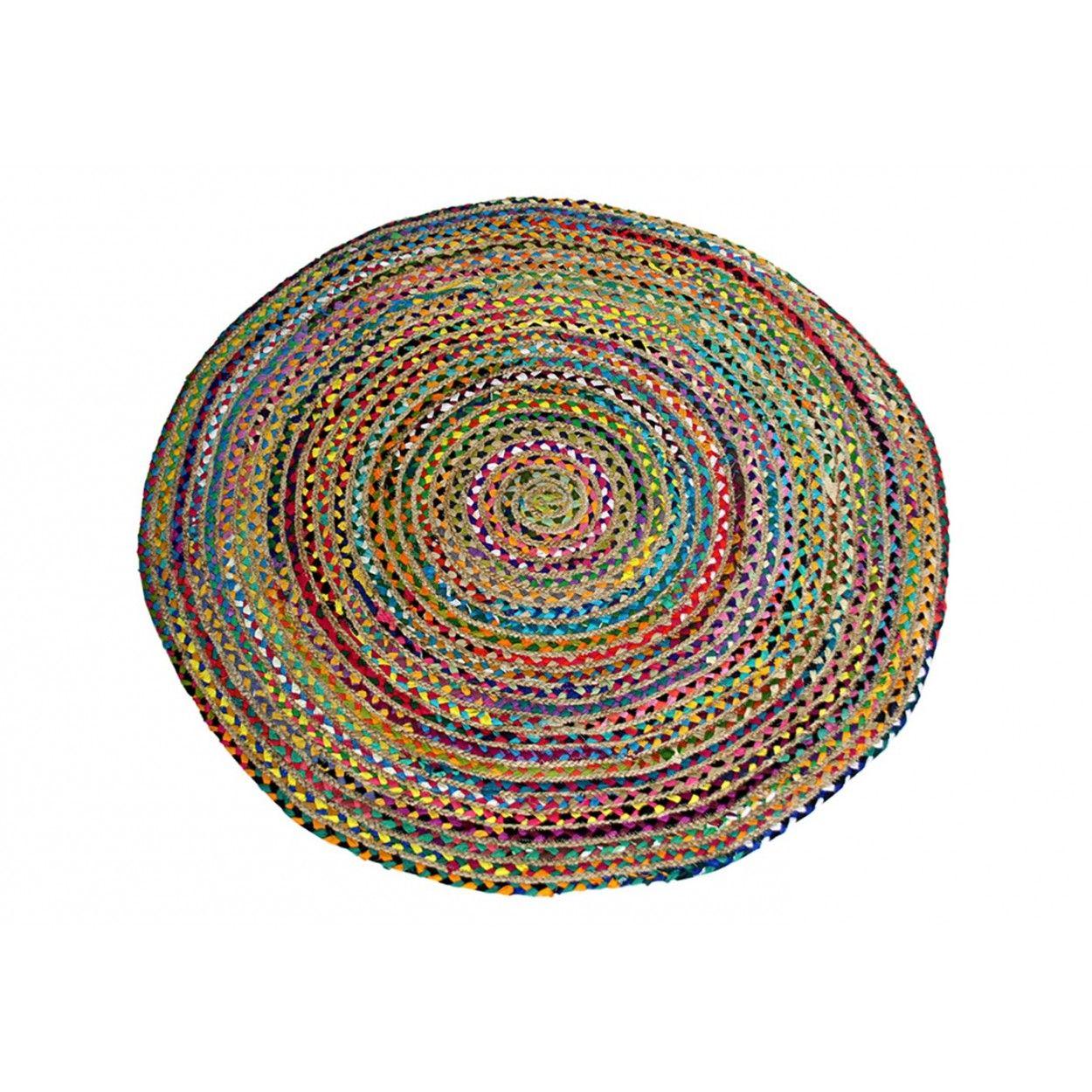 Alfombra redonda algod n y yute colores hogar y mas for Alfombra colores