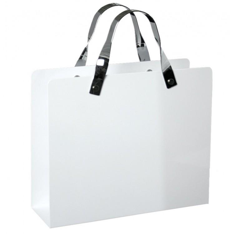 Revistero de acero inox. blanco (30x25.5x10 cm)  Hogar y Mas