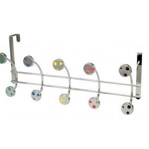 Coat rack for door (45x19 cm) 5 hooks. Chrome Brightness