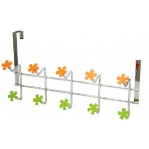 Coat rack for door 5 hooks (43x23 cm) Chrome-plated Metal