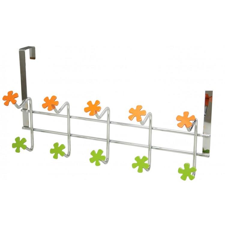 Perchero para puerta 5 ganchos (43x23 cm) Metal Cromado
