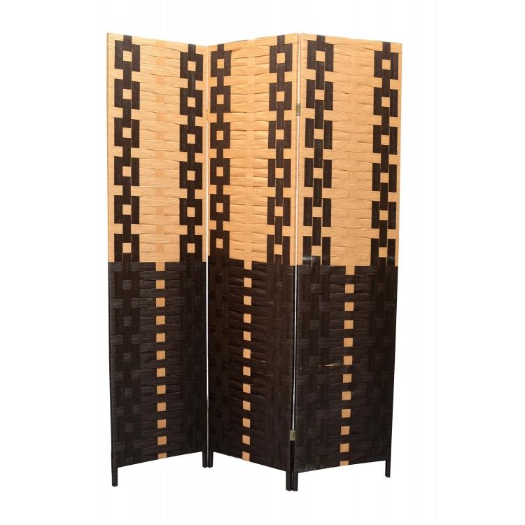 Biombo de Bambu y papel trenzado negro y amarillo